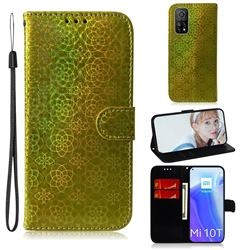 Laser Circle Shining Leather Wallet Phone Case for Xiaomi Mi 10T / 10T Pro 5G - Golden