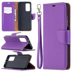 Classic Luxury Litchi Leather Phone Wallet Case for Xiaomi Mi 10T / 10T Pro 5G - Purple
