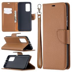 Classic Luxury Litchi Leather Phone Wallet Case for Xiaomi Mi 10T / 10T Pro 5G - Brown