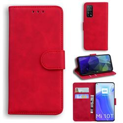 Retro Classic Skin Feel Leather Wallet Phone Case for Xiaomi Mi 10T / 10T Pro 5G - Red