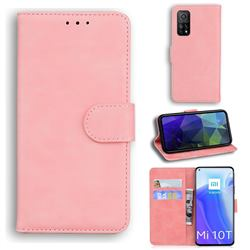 Retro Classic Skin Feel Leather Wallet Phone Case for Xiaomi Mi 10T / 10T Pro 5G - Pink