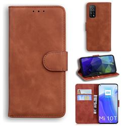 Retro Classic Skin Feel Leather Wallet Phone Case for Xiaomi Mi 10T / 10T Pro 5G - Brown