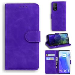 Retro Classic Skin Feel Leather Wallet Phone Case for Xiaomi Mi 10T / 10T Pro 5G - Purple