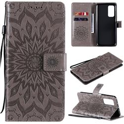 Embossing Sunflower Leather Wallet Case for Xiaomi Mi 10T / 10T Pro 5G - Gray
