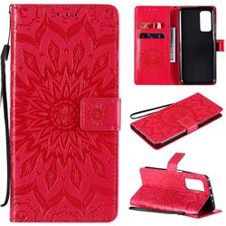 Embossing Sunflower Leather Wallet Case for Xiaomi Mi 10T / 10T Pro 5G - Red