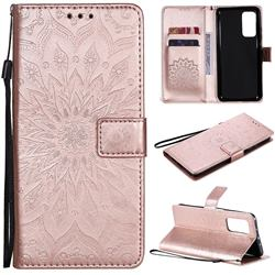 Embossing Sunflower Leather Wallet Case for Xiaomi Mi 10T / 10T Pro 5G - Rose Gold