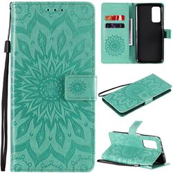 Embossing Sunflower Leather Wallet Case for Xiaomi Mi 10T / 10T Pro 5G - Green