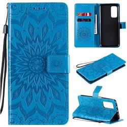Embossing Sunflower Leather Wallet Case for Xiaomi Mi 10T / 10T Pro 5G - Blue