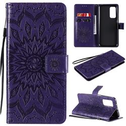 Embossing Sunflower Leather Wallet Case for Xiaomi Mi 10T / 10T Pro 5G - Purple