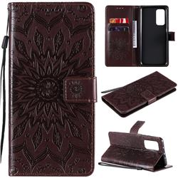 Embossing Sunflower Leather Wallet Case for Xiaomi Mi 10T / 10T Pro 5G - Brown
