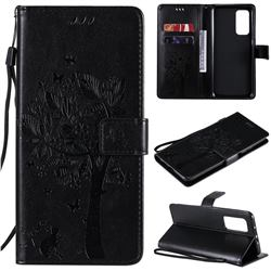 Embossing Butterfly Tree Leather Wallet Case for Xiaomi Mi 10T / 10T Pro 5G - Black