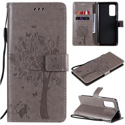 Embossing Butterfly Tree Leather Wallet Case for Xiaomi Mi 10T / 10T Pro 5G - Grey
