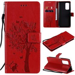 Embossing Butterfly Tree Leather Wallet Case for Xiaomi Mi 10T / 10T Pro 5G - Red