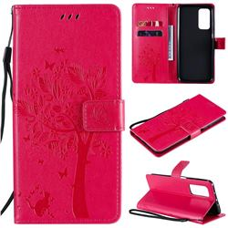 Embossing Butterfly Tree Leather Wallet Case for Xiaomi Mi 10T / 10T Pro 5G - Rose