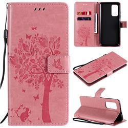 Embossing Butterfly Tree Leather Wallet Case for Xiaomi Mi 10T / 10T Pro 5G - Pink