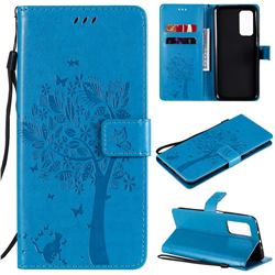 Embossing Butterfly Tree Leather Wallet Case for Xiaomi Mi 10T / 10T Pro 5G - Blue