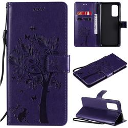 Embossing Butterfly Tree Leather Wallet Case for Xiaomi Mi 10T / 10T Pro 5G - Purple