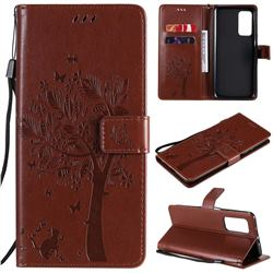 Embossing Butterfly Tree Leather Wallet Case for Xiaomi Mi 10T / 10T Pro 5G - Coffee