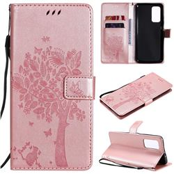 Embossing Butterfly Tree Leather Wallet Case for Xiaomi Mi 10T / 10T Pro 5G - Rose Pink