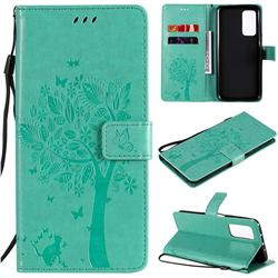 Embossing Butterfly Tree Leather Wallet Case for Xiaomi Mi 10T / 10T Pro 5G - Cyan