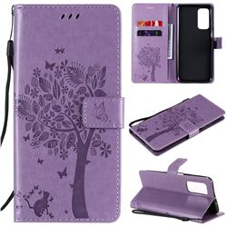 Embossing Butterfly Tree Leather Wallet Case for Xiaomi Mi 10T / 10T Pro 5G - Violet
