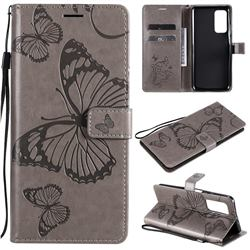 Embossing 3D Butterfly Leather Wallet Case for Xiaomi Mi 10T / 10T Pro 5G - Gray