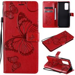 Embossing 3D Butterfly Leather Wallet Case for Xiaomi Mi 10T / 10T Pro 5G - Red