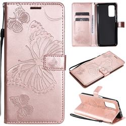 Embossing 3D Butterfly Leather Wallet Case for Xiaomi Mi 10T / 10T Pro 5G - Rose Gold