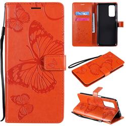 Embossing 3D Butterfly Leather Wallet Case for Xiaomi Mi 10T / 10T Pro 5G - Orange