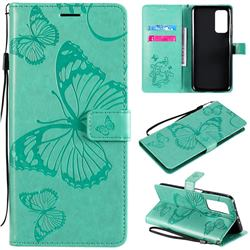 Embossing 3D Butterfly Leather Wallet Case for Xiaomi Mi 10T / 10T Pro 5G - Green