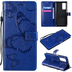 Embossing 3D Butterfly Leather Wallet Case for Xiaomi Mi 10T / 10T Pro 5G - Blue