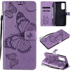 Embossing 3D Butterfly Leather Wallet Case for Xiaomi Mi 10T / 10T Pro 5G - Purple
