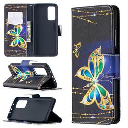 Golden Shining Butterfly Leather Wallet Case for Xiaomi Mi 10T / 10T Pro 5G