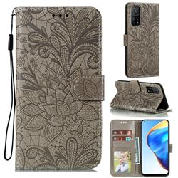 Intricate Embossing Lace Jasmine Flower Leather Wallet Case for Xiaomi Mi 10T / 10T Pro 5G - Gray