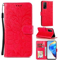 Intricate Embossing Lace Jasmine Flower Leather Wallet Case for Xiaomi Mi 10T / 10T Pro 5G - Red