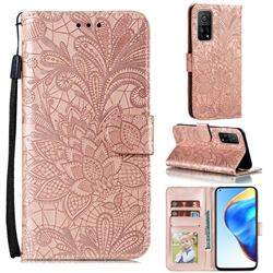 Intricate Embossing Lace Jasmine Flower Leather Wallet Case for Xiaomi Mi 10T / 10T Pro 5G - Rose Gold