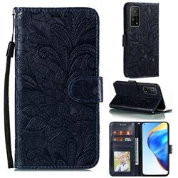 Intricate Embossing Lace Jasmine Flower Leather Wallet Case for Xiaomi Mi 10T / 10T Pro 5G - Dark Blue