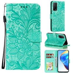 Intricate Embossing Lace Jasmine Flower Leather Wallet Case for Xiaomi Mi 10T / 10T Pro 5G - Green