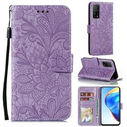 Intricate Embossing Lace Jasmine Flower Leather Wallet Case for Xiaomi Mi 10T / 10T Pro 5G - Purple
