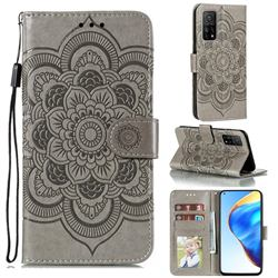 Intricate Embossing Datura Solar Leather Wallet Case for Xiaomi Mi 10T / 10T Pro 5G - Gray