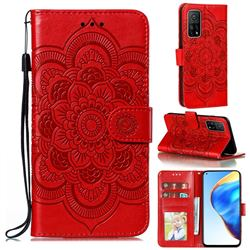 Intricate Embossing Datura Solar Leather Wallet Case for Xiaomi Mi 10T / 10T Pro 5G - Red