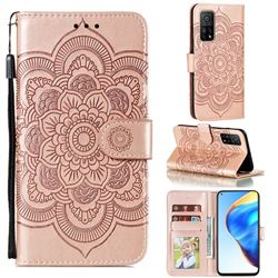 Intricate Embossing Datura Solar Leather Wallet Case for Xiaomi Mi 10T / 10T Pro 5G - Rose Gold