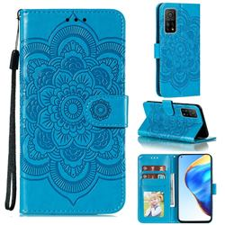 Intricate Embossing Datura Solar Leather Wallet Case for Xiaomi Mi 10T / 10T Pro 5G - Blue