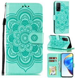 Intricate Embossing Datura Solar Leather Wallet Case for Xiaomi Mi 10T / 10T Pro 5G - Green