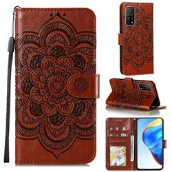Intricate Embossing Datura Solar Leather Wallet Case for Xiaomi Mi 10T / 10T Pro 5G - Brown