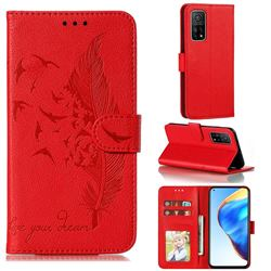 Intricate Embossing Lychee Feather Bird Leather Wallet Case for Xiaomi Mi 10T / 10T Pro 5G - Red