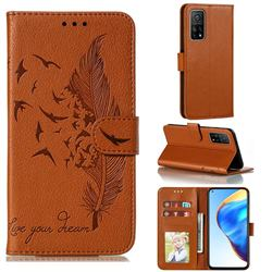 Intricate Embossing Lychee Feather Bird Leather Wallet Case for Xiaomi Mi 10T / 10T Pro 5G - Brown