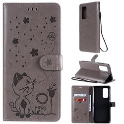 Embossing Bee and Cat Leather Wallet Case for Xiaomi Mi 10T / 10T Pro 5G - Gray