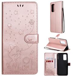 Embossing Bee and Cat Leather Wallet Case for Xiaomi Mi 10T / 10T Pro 5G - Rose Gold
