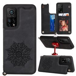 Luxury Mandala Multi-function Magnetic Card Slots Stand Leather Back Cover for Xiaomi Mi 10T / 10T Pro 5G - Black